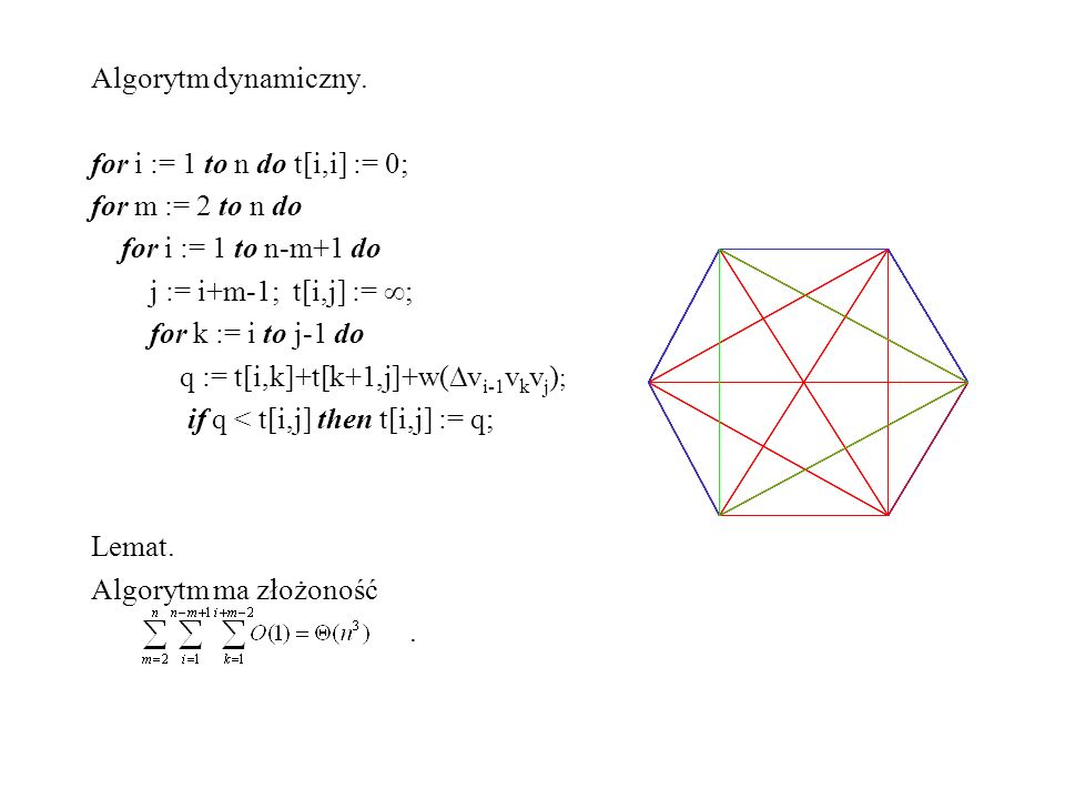 Algorytm dynamiczny. for i := 1 to n do t[i,i] := 0; for m := 2 to n do. for i := 1 to n-m+1 do. j := i+m-1; t[i,j] := ;